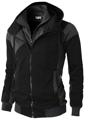 H2H Mens Casual Slim Fit Hoodie Jacket Dual Zipper With Pockets Black/Gray Small