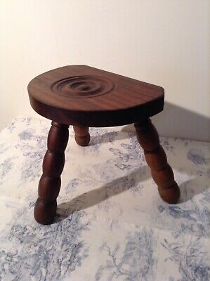 French Chunky Wooden Half Moon Three Legged Milking Stool