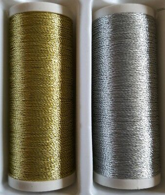New Quality 1 x 100m Each Gold & Silver Metallic Sewing Thread For Hand /Machine