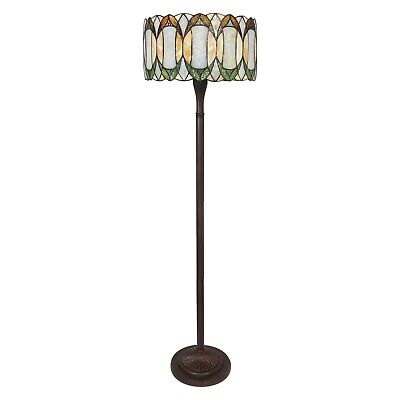 """Tiffany Style Drum Green and White Floor Lamp 16"""" Shade"""