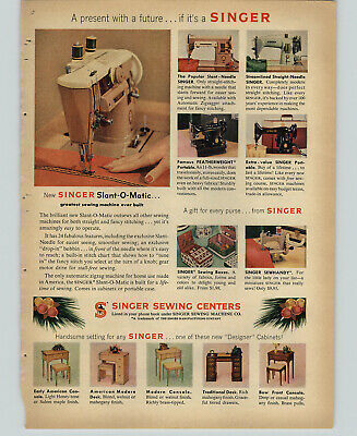 1957 PAPER AD Singer Sewing Machine Slant-O-Matic Portable Featherweight Needle