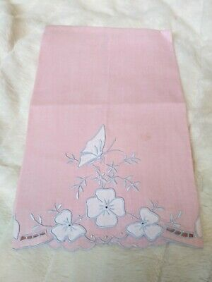 """Pink Butterfly Madeira Applique & Embroidered Linen Hand Towel 21.5""""x13.5"""""""