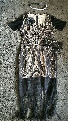 Vintage Flapper Dress outfit 1920 30s Peaky Blinders Great Gatsby Art Deco M /12
