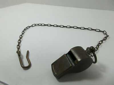 Vintage Antique Military Brass Blow Cork Whistle With Chain And Hook
