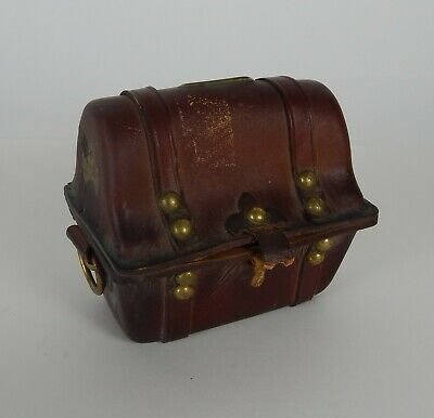 Vintage Leather Pirate Treasure Chest Coin Bank