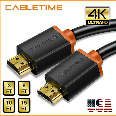 Cabletime HDMI Cable High Speed 4K 2.0 60hz 3D Full HD Premium XBox One X PS4