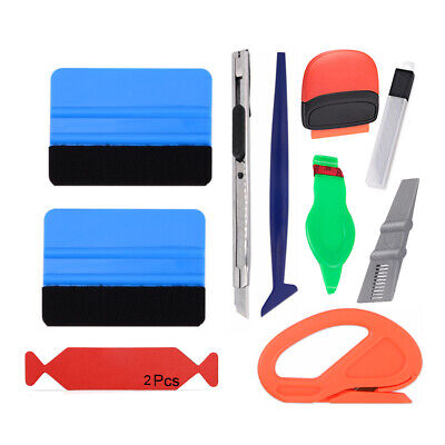 Auto Wrap Vinyl Tools Kit Carbon Fibre Squeegee Snitty Cutter Film Installation