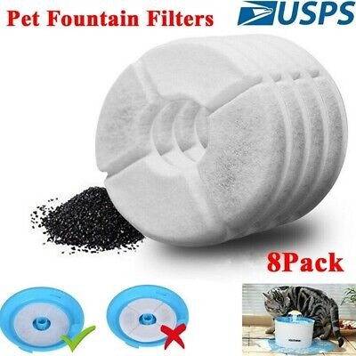 8X Water Fountain Filter Activated Carbon Charcoal Replacement for Pet Dog Cat H