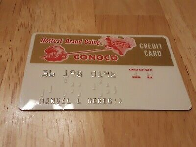 Vintage CONOCO Credit Card oil gas branding iron exp: 04/67 gas station charge