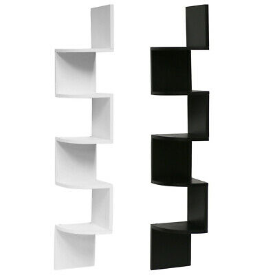 5 Tier Floating ZigZag Corner Shelves Storage Rack 3D Wall Mounted Display 0q