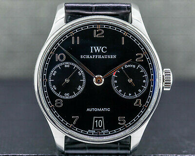 IWC IW500109 Portuguese 7 Day Automatic SS Black Dial WITH ORIGINAL BOX