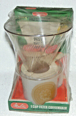 Melitta Vintage Coffee Maker One Cup Filter Cone Sealed NIP White Fireking Cup