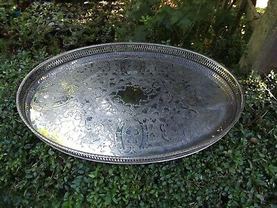 "SUPERB Large 17"" ~ SILVER Plated ~ GEORGIAN Style ~ GALLERY TRAY ~Viners"