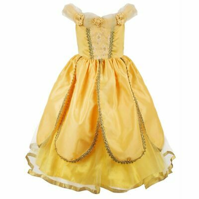 Princess Dress Belle Girls Beauty and the Beast Cosplay Costume Gown Party Dress