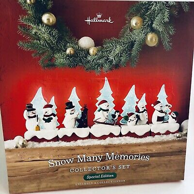 Hallmark 2018 Snow Many Memories Collector's Set Snowmen Lighted Trees Limited