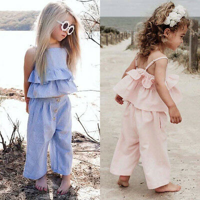 AU Toddler Kid Baby Girl 3cps Clothes Ruffle Tops Shirt Wid Led Pants Outfit Set