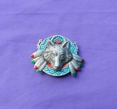 Belt Buckle Wolf Solid Fine Pewter Made in USA 1996 Vintage