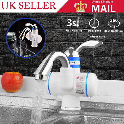 Kitchen Bathroom Electric Hot Water Heater Faucet Instant Heating Tap 3000W UK