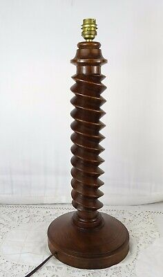 "17.5"" Antique French Large Oak Wood Carved Light Lamp Stand Twist Wooden"