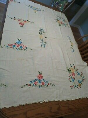 "Vtg Embroidered Tablecloth  White W /Red, Blue & Yellow Flowers,58 X 88"",Scallop"
