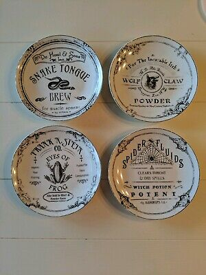 222 Fifth Halloween Hallow Apothecary 4 Appetizer Dessert Plates Black & White