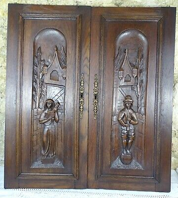 Pair Antique French Hand Carved Panels/Door Oak Wood/ Figures/ Medieval Couple