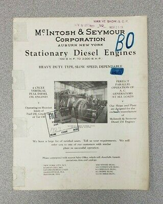 1923 McIntosh & Seymour Stationary Diesel Engines Sales Sheet