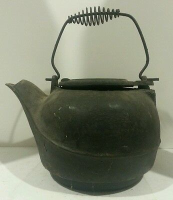 Real Vintage Cast Iron Hot Water / Tea Kettle -Taiwan -Big & Heavy Rustic Decor