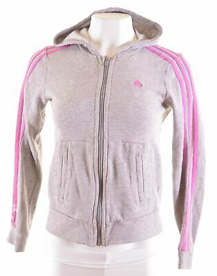 ADIDAS Girls Hoodie Sweater 13-14 Years Grey Cotton  MA16