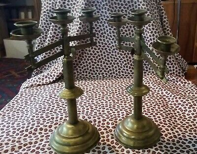 Antique Pair Large Brass CANDELABRA 6 Candlestick Holders Adjustable