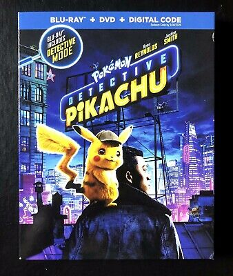 🎬POKEMON Detective Pikachu Blu-ray & DVD 2-Disc Set (2019) Ryan Renolds