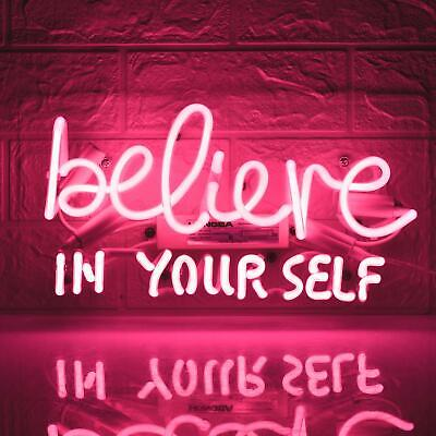 """Believe In Yourself Acrylic Neon Light Sign 14"""" Glass Artwork Decor Wall Cave"""