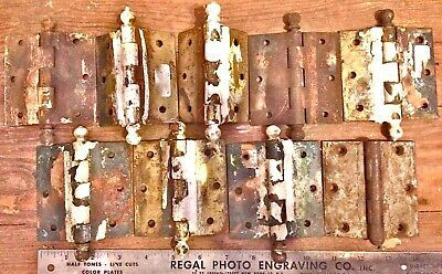 """10 BALL DOOR HINGES ANTIQUE Salvage Iron partial Brass Plated Vintage 3"""" x 2.5"""""""