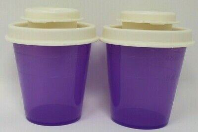 Tupperware Salt and Pepper Shakers Beautiful Purple White lid SUMMER SALE F/S