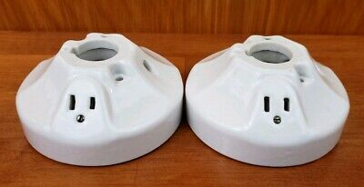 2 Vintage P&S Alabax Porcelain Electric Light Fixtures 250V 250W, P1230L P1286A