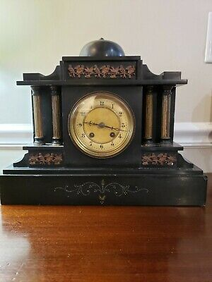 Antique French Black Marble Mantel Clock