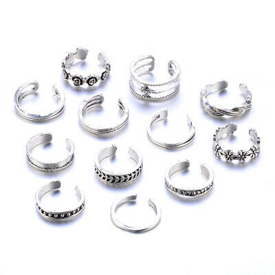 12PCs/set Adjustable Jewelry Retro Silver Open Toe Ring s Rings Foot Finger N8W4