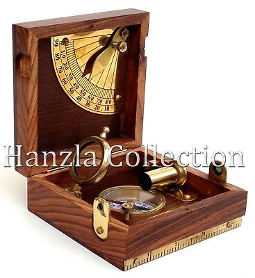 Wooden Brass Marine Master Box Nautical Navigation Compass Telescope & Magnifier