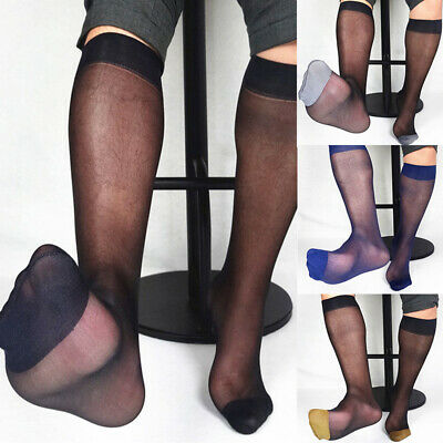 Men Nylon Solid Color Colored Toe Thin Sheer Over The Calf Dress Socks New Style