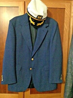 Mens Sz 40 R Stafford Vintage Navy Blue Sport Coat Suit Jacket Captain Hat Set !