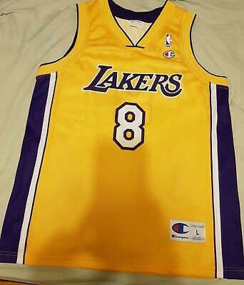 BNWOT Champion EU Los Angeles Lakers Kobe Bryant NBA jersey 44 Large Shaq Fox #8