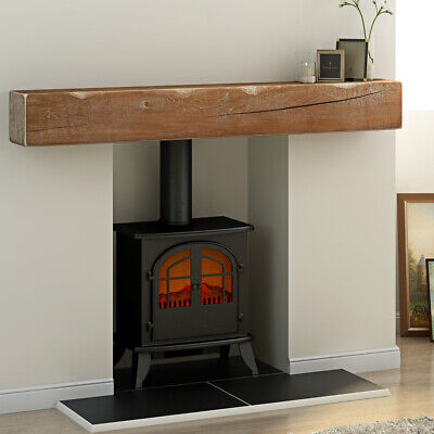 Retro Solid Oak Beam Fireplace Mantle Lintel Floating Shelf Mantelpiece Timber