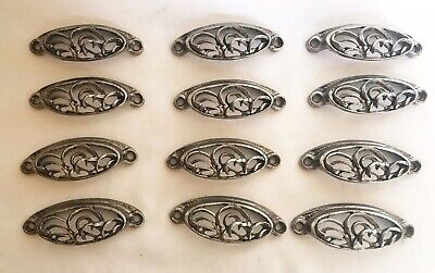 Reclaimed Antique Ornate Bin Cabinet Drawer Pulls Silver Nickel Pewter Lot Of 12