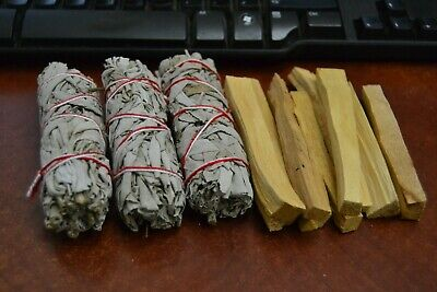 "3 Pcs White Sage Bundle 4"" + 10 Palo Santo Sticks - Smudge Kit Refills"