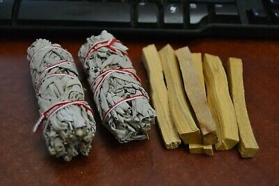 "2 Pcs White Sage Bundle 4"" + 6 Palo Santo Sticks - Smudge Kit Refills"