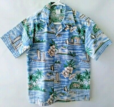 ROYAL CREATIONS Hawaii vintage boys size 16 shirt Hawaiian retro beach hibiscus