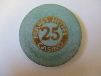 vintage Mapes Hotel Casino Las Vegas Nevada 25 cents Poker Chip