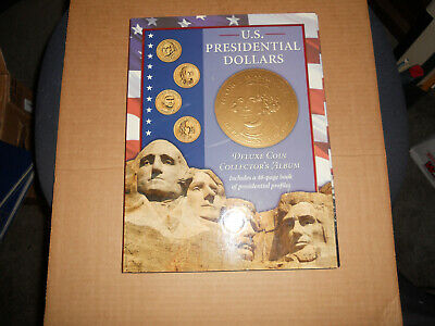 Us Presidential Dollar Deluxe Coin Collector's Album With Book Of Potus Profiles