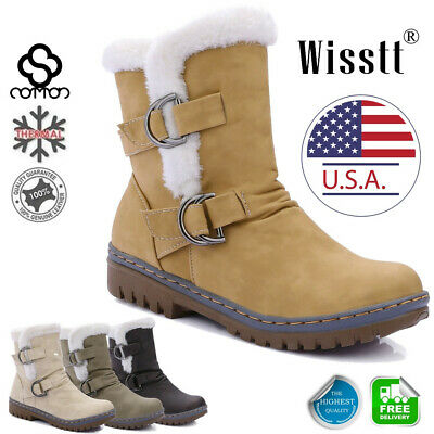 Women's Snow Ankle Boots Winter Leather Fur Lining Warm Waterproof Ski Shoes USA