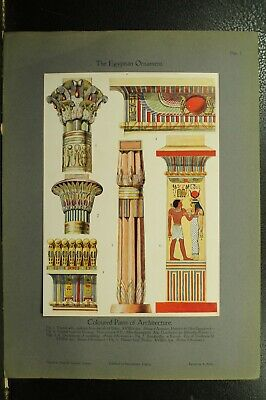100+ year old antique vintage color print Egyptian Ornament Architecture
